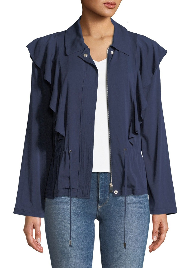 Laundry by Shelli Segal Ruffle-Front Twill Jacket