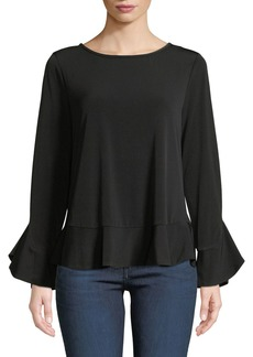 Laundry by Shelli Segal Ruffle-Hem Peplum Knit Top