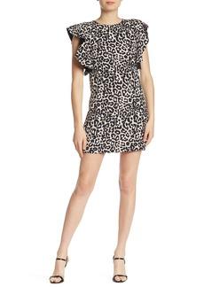 Laundry by Shelli Segal Leopard Print Ruffle Sleeve Mini Dress
