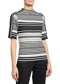 Laundry by Shelli Segal Ruffle-Trim Mock-Neck Striped Top