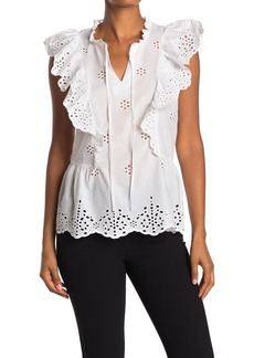 Laundry by Shelli Segal Ruffled Embroidered Eyelet Top