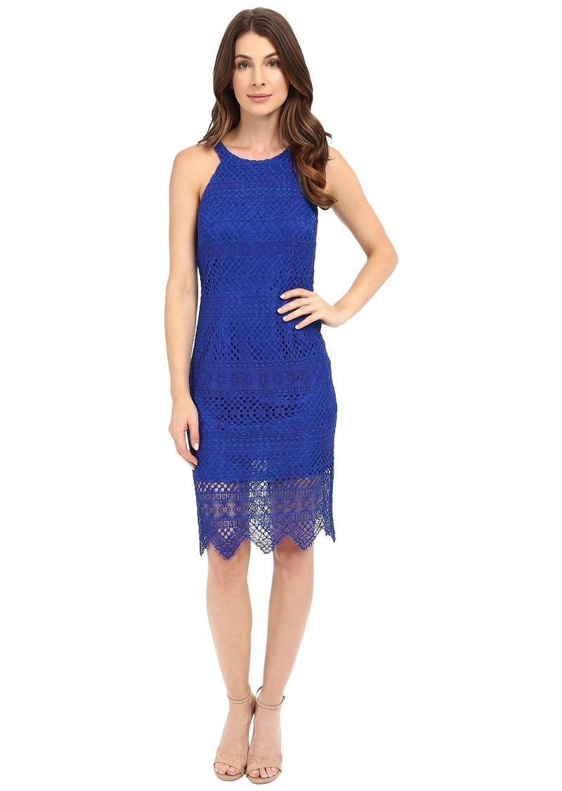 Laundry by Shelli Segal Salem Stripe Lace Cutaway Short Dress with Scalloped Hem