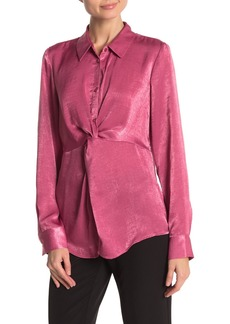 Laundry by Shelli Segal Satin Knot Front Blouse