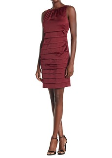 Laundry by Shelli Segal Satin Sleeveless Pleated Cocktail Sheath Dress