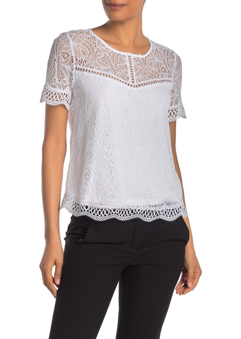 Laundry by Shelli Segal Scalloped Lace Short Sleeve Top