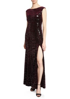 Laundry by Shelli Segal Sequined Floral Velvet  Gown