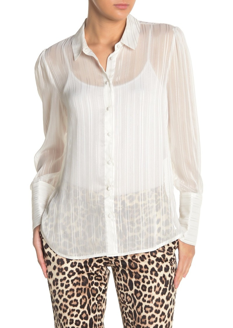 Laundry by Shelli Segal Shadow Stripe Metallic Button Front Blouse