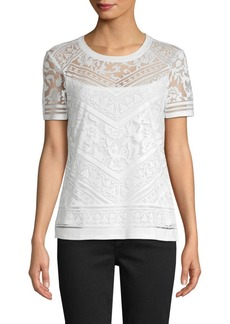Laundry by Shelli Segal Short-Sleeve Burnout Tee