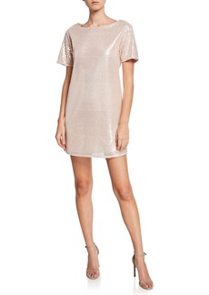Laundry by Shelli Segal Short Sleeve Cocktail Dress w/Crotchet Sequin