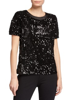 Laundry by Shelli Segal Short-Sleeve Crewneck Sequin Top
