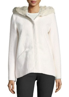 Laundry by Shelli Segal Short Wool Boucle Top Coat w/ Faux-Fur Hood