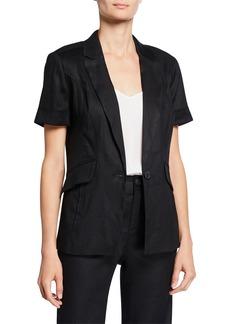 Laundry by Shelli Segal Single-Button Linen Short-Sleeve Blazer