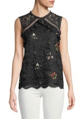 Laundry by Shelli Segal Sleeveless Embroidered Lace Blouse