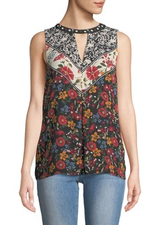 Laundry by Shelli Segal Sleeveless Floral-Print Keyhole Blouse