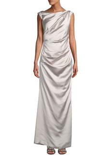 Laundry by Shelli Segal Sleeveless Ruched Satin Gown