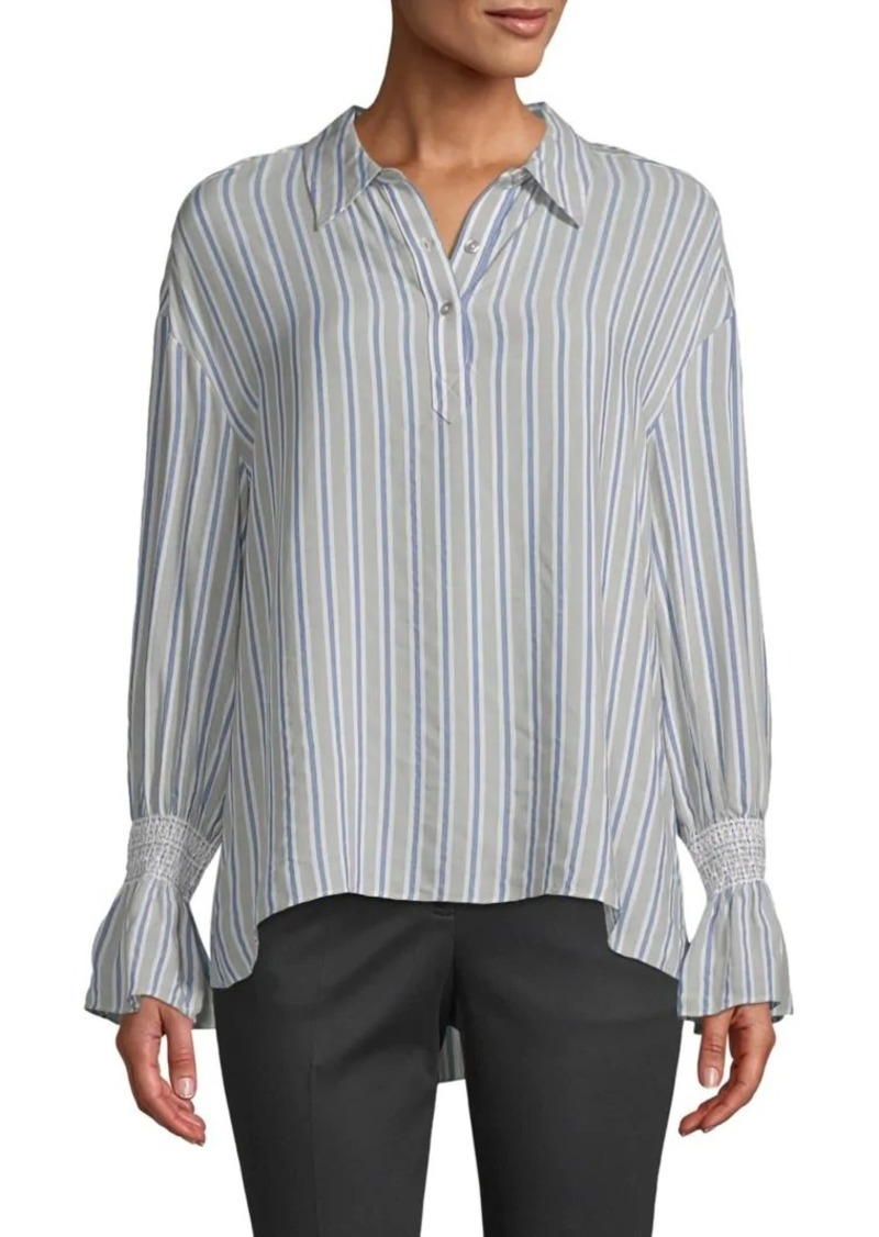 Laundry by Shelli Segal Smocked Cuff Stripe Blouse