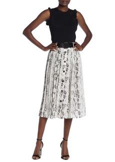 Laundry by Shelli Segal Snake Print Belted Midi Skirt