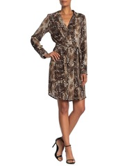 Laundry by Shelli Segal Snake Print Button Front Shirt Dress