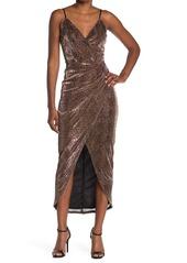 Laundry by Shelli Segal Snake Print Faux Wrap Midi Dress