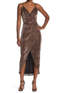 Laundry by Shelli Segal Snake Print Faux Wrap Midi Dress