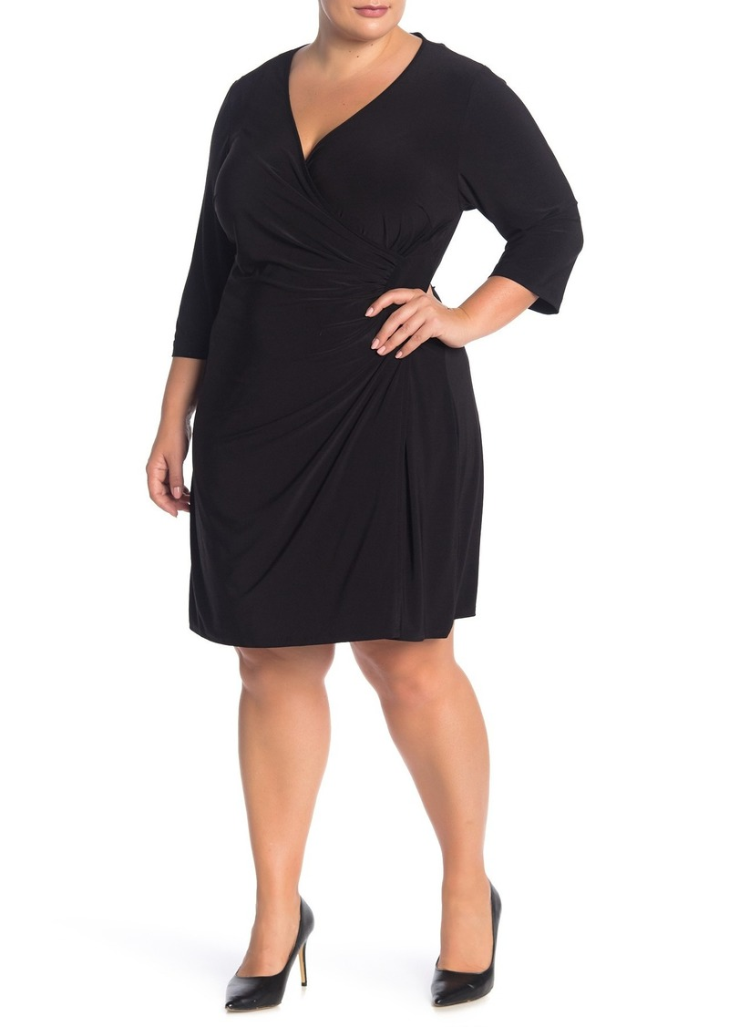 Laundry by Shelli Segal Solid Faux Wrap Dress (Plus Size)