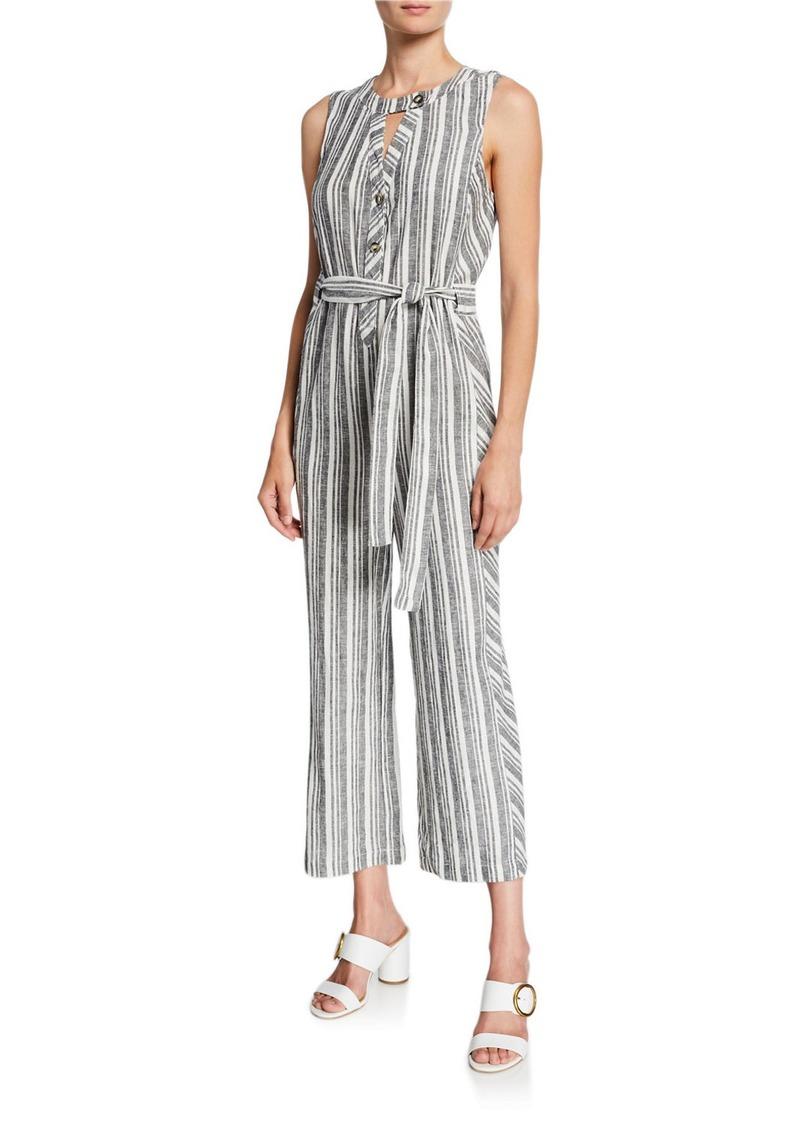 Laundry by Shelli Segal Stripe Linen Tie-Waist Jumpsuit