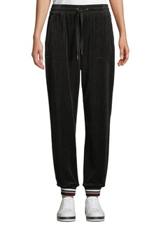 Laundry by Shelli Segal Striped-Cuff Velour Jogger Pants