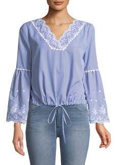 Striped Eyelet Embroidered Bell-Sleeve Blouse