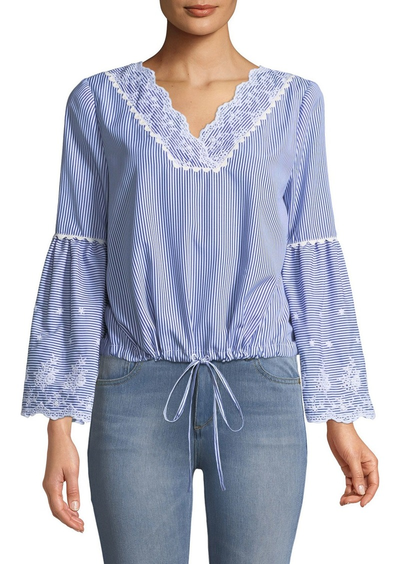 Laundry by Shelli Segal Striped Eyelet Embroidered Bell-Sleeve Blouse