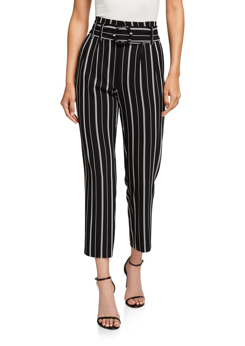 Laundry by Shelli Segal Striped High-Waist Tapered Trousers w/ Belt