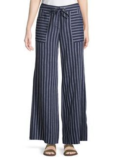 Laundry by Shelli Segal Striped-Linen Flare-Leg Pants