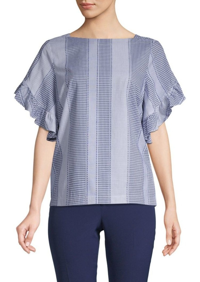 Laundry by Shelli Segal Striped Ruffle-Sleeve Cotton Top