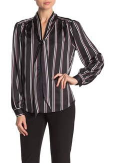 Laundry by Shelli Segal Striped Satin Tie Neck Blouse