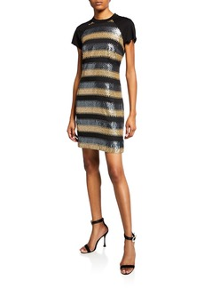 Laundry by Shelli Segal Striped Sequin Short-Sleeve T-Shirt Dress