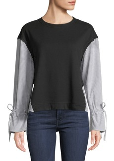Laundry by Shelli Segal Striped Shirt-Trim Frech-Terry Top