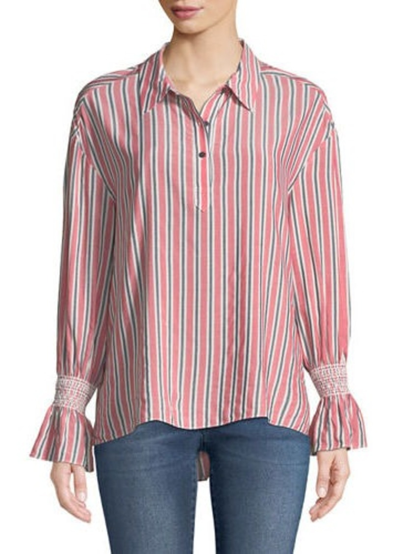 Laundry by Shelli Segal Striped Smocked-Cuff Button-Front Blouse