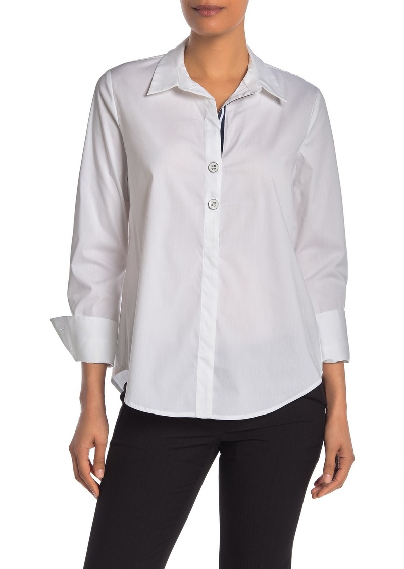 Laundry by Shelli Segal Striped Trim Poplin Button Front Shirt