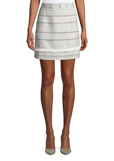 Laundry by Shelli Segal Striped Tweed Mini Skirt