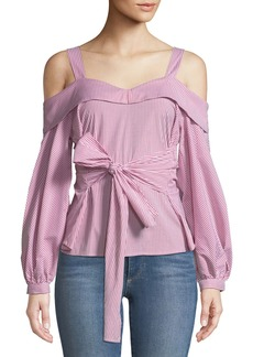 Sweetheart Cold-Shoulder Wrap-Front Blouse