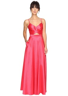 Laundry by Shelli Segal Taffeta Gown w/ Open Back