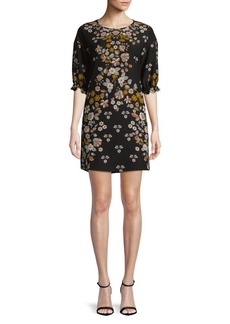 Laundry by Shelli Segal Three-Quarter-Sleeve Floral Crepe Dress