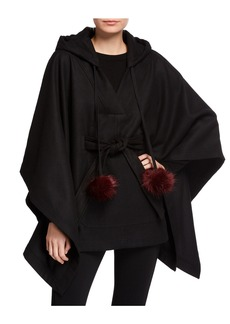 Laundry by Shelli Segal Tie-Front Hooded Poncho w/ Faux-Fur Pompoms