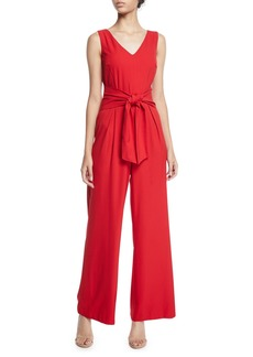 Laundry by Shelli Segal Tie-Front Wide-Leg V-Neck Jumpsuit
