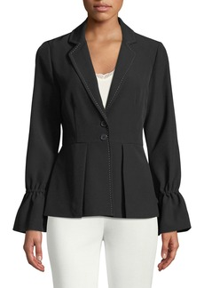 Laundry by Shelli Segal Tie-Sleeve Peplum Blazer