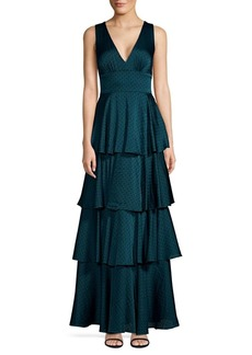 Laundry by Shelli Segal Tiered Flocked Dot Chiffon Gown