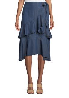 Laundry by Shelli Segal Tiered-Ruffle Chambray Wrap Skirt