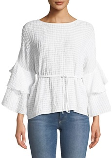 Tiered-Ruffle Sleeve Tie-Waist Blouse