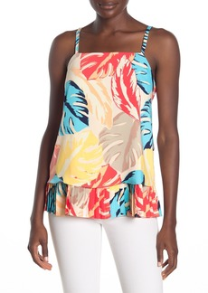 Laundry by Shelli Segal Tropical Leaf Ladder Pleated Tank Top