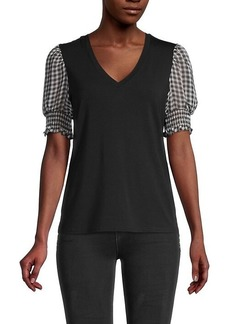 Laundry by Shelli Segal V-Neck Balloon-Sleeve Top