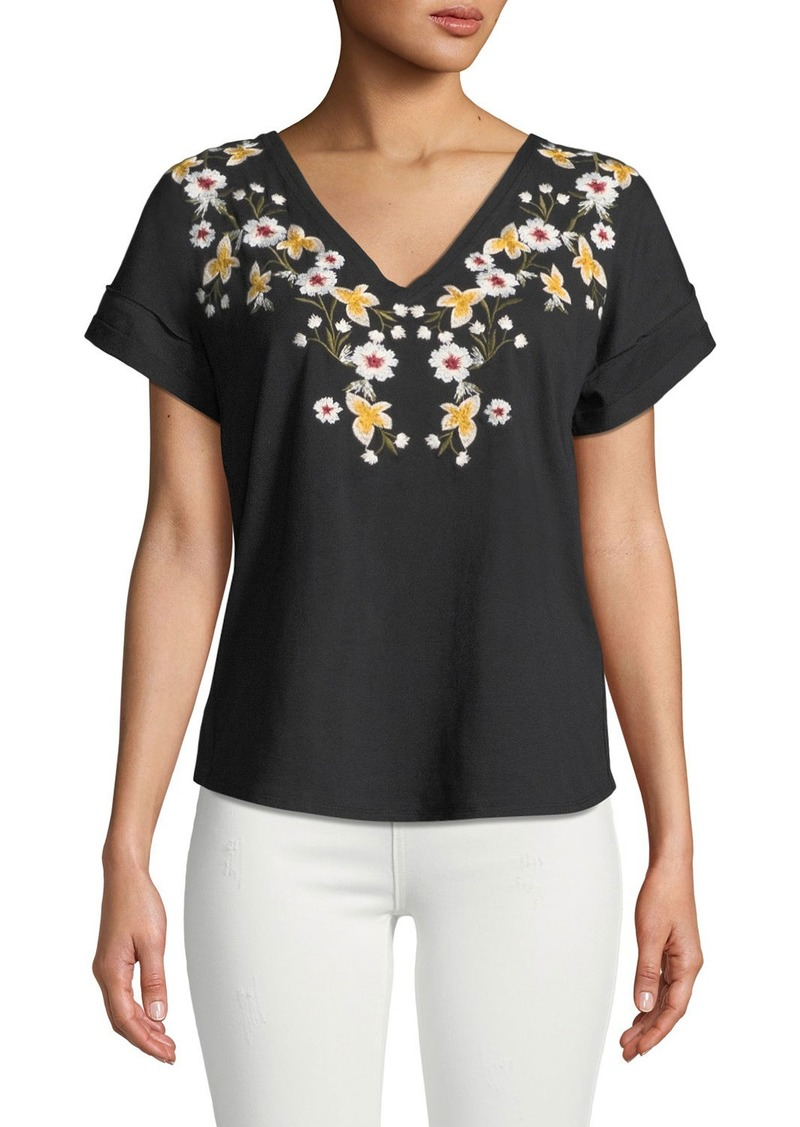 Laundry by Shelli Segal V-Neck Floral-Embroidered Knit Top